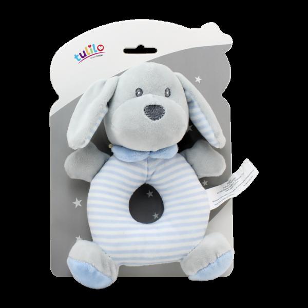 Plyšová hračka Tulilo s hrkálkou Psík, 17 cm - modrý