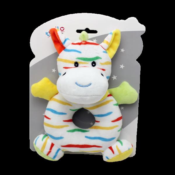 Plyšová hračka Tulilo s hrkálkou Zebra, 17 cm - žltá