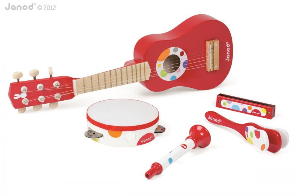 Janod Sada 5 drevených hudobných nástrojov Confetti Music Live gitara, harmonika, trúbka